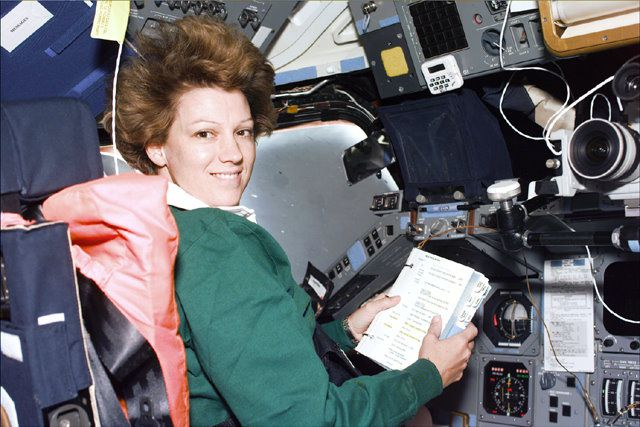 Eileen Collins, commander of space shuttle Columbia mission STS-93