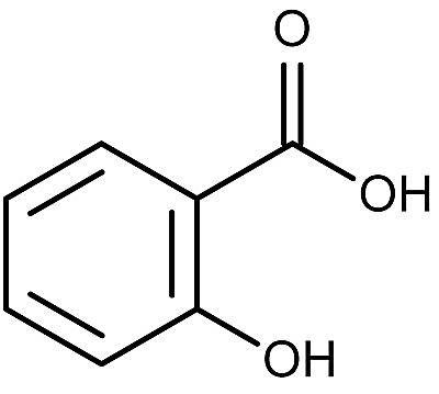Esta es la estructura química del ácido salicílico.