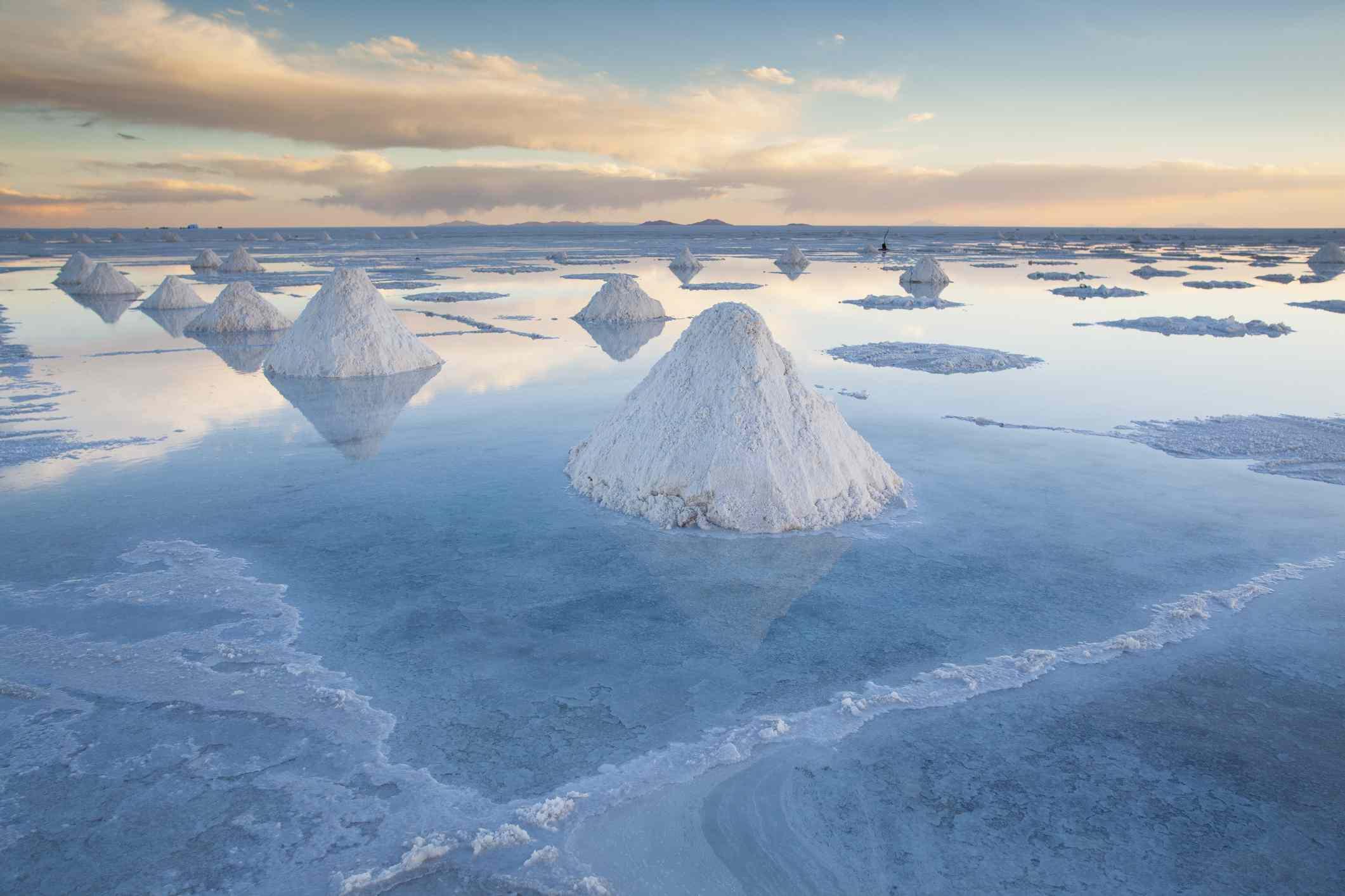 Salt on the plains of Salar de Uyuni, Bolivia