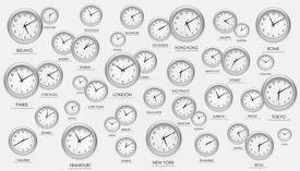 Numerous scattered international clocks