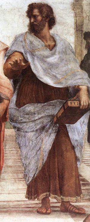 Aristotle, from Scuola di Atene fresco, by Raphael Sanzio. 1510-11.