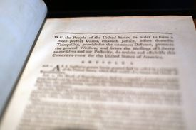 A copy of former President George Washington's personal copy of the Constitution and Bill of Rights is displayed at Christie's auction house
