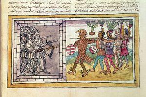 Pedro de Alvarado companion-at-arms of Hernando Cortes besieged by Aztec warriors