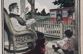 A 1904 catalogue cover depicts a father greeting the mailman while enjoying a day on the porch with his son and the pet dog.