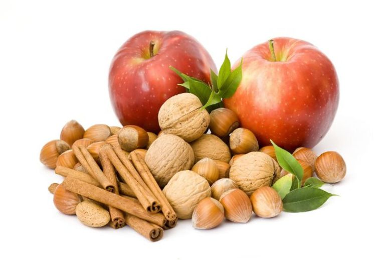 Apples, hazelnuts, walnuts, and cinnamon