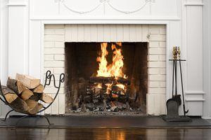 A wood burning fireplace.