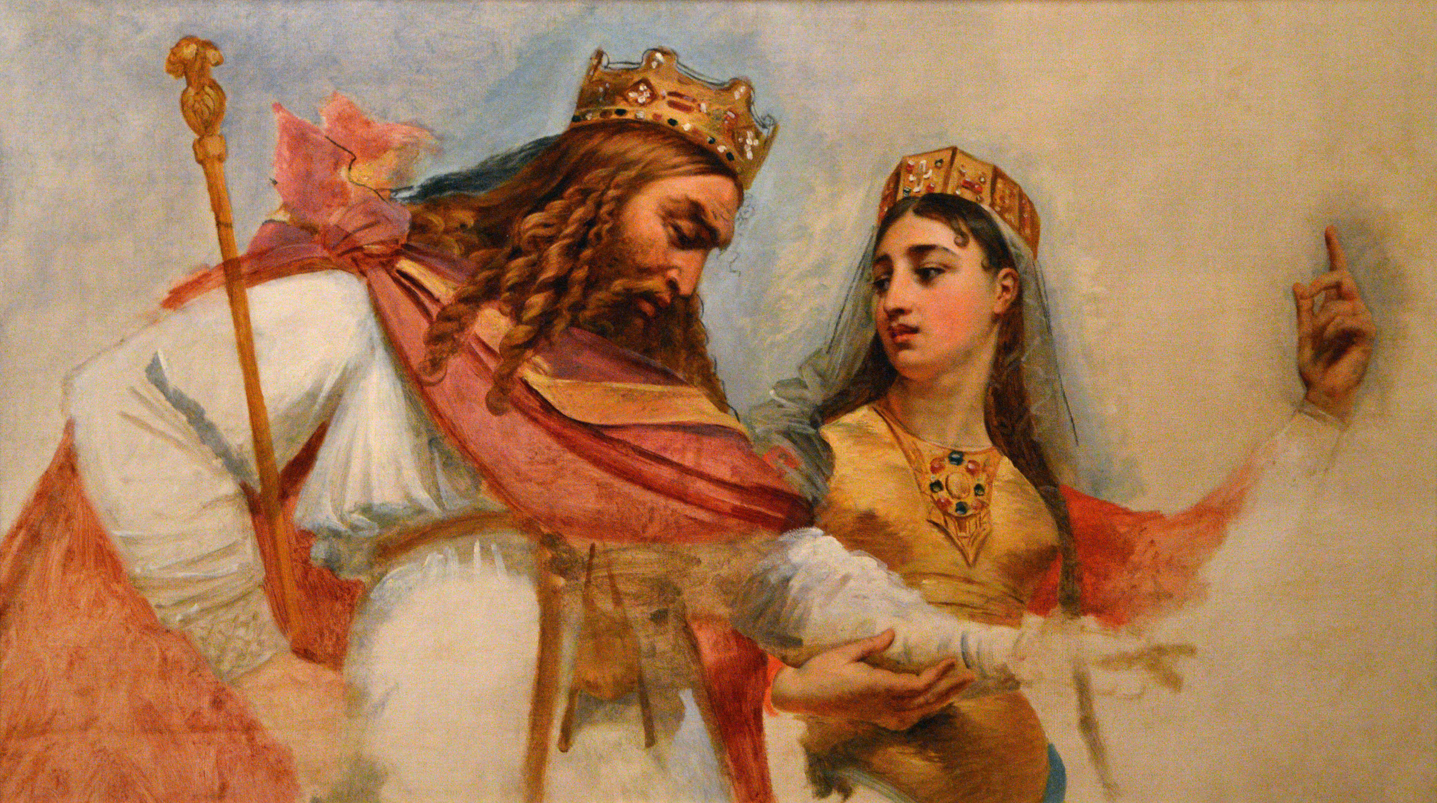 Painting of Clovis et Clotilde in court dressing.