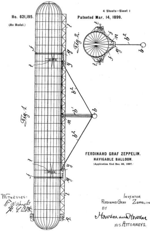 Ferdinand von Zeppelin PATENT NUMBER 621195 diagram