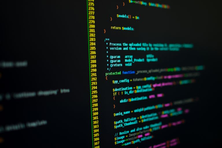 PHP code on computer screen