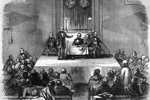 Illustration of American Colonization Society Meeting.