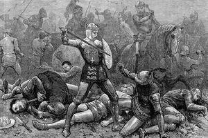 France's Duke of Alencon (R kneeling) crouching in