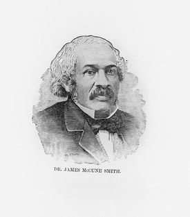 Engraving head and shoulders portrait of Dr. James McCune Smith abolitionist and emancipator circa 1860.