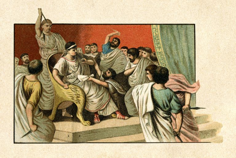 illustration of the assassination of Caesar