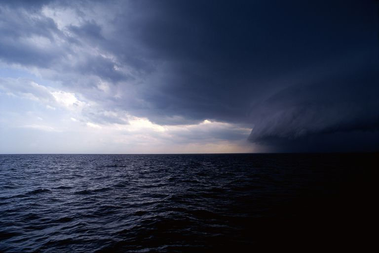 Storm clouds over the ocean