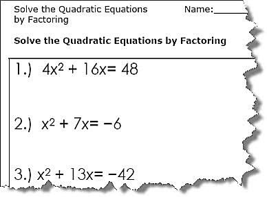 Quadratic Equation Worksheets - Printable PDF Download