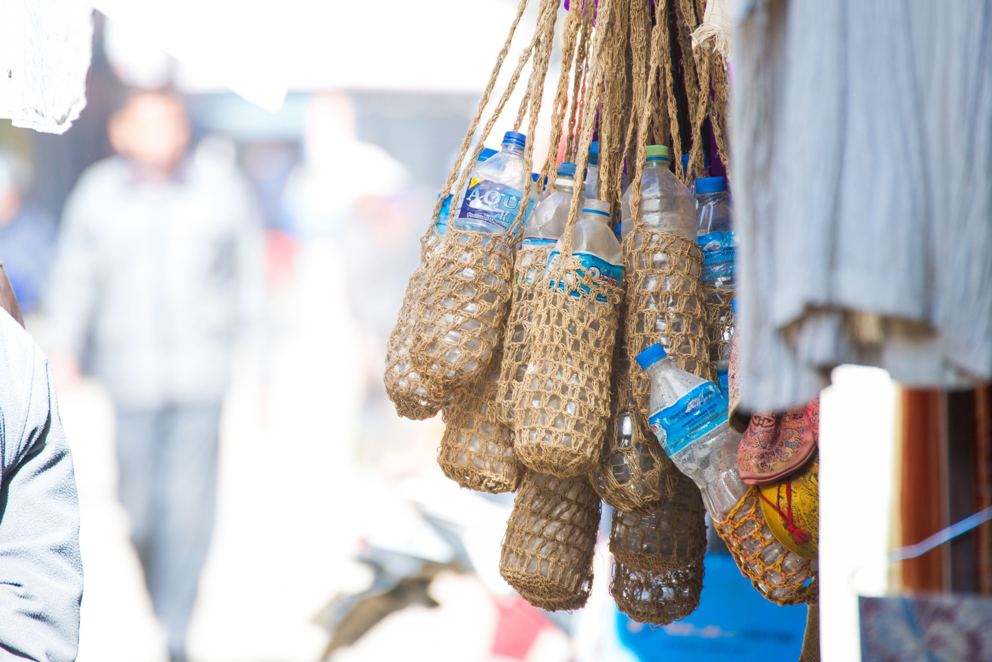 hand made water bottle bag made from sack