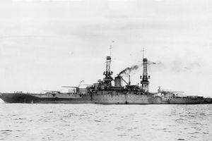 The U.S. Navy battleship USS Mississippi (BB-41) during operations at sea, in the 1920s.