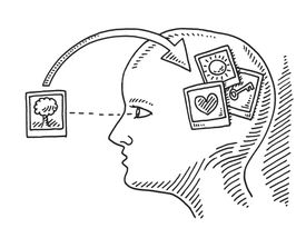 An illustration of memories going into a brain