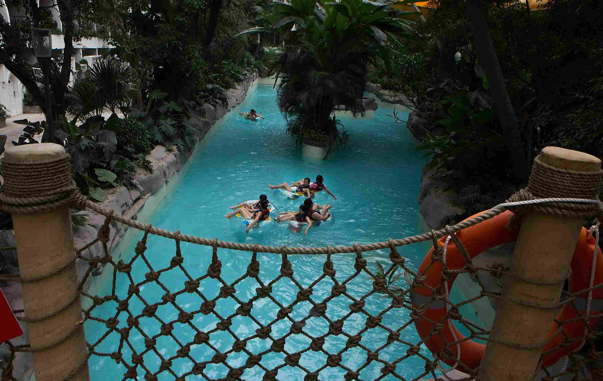 Rafting on a river that runs through the Paradise Island Water Park inside the New Century Global Center in Chengdu, China