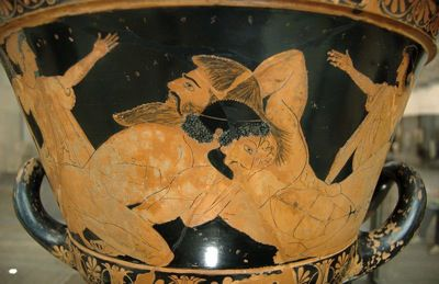 Heracles and Antaios on a calyx krater.