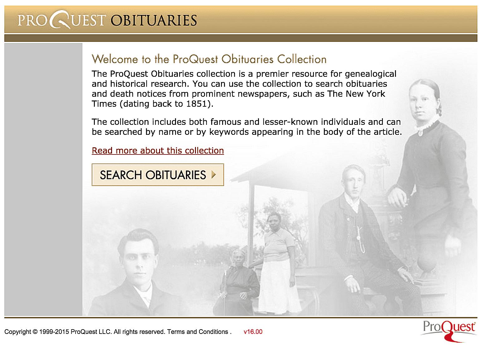 ProQuest Obituaries για ιστορική έρευνα