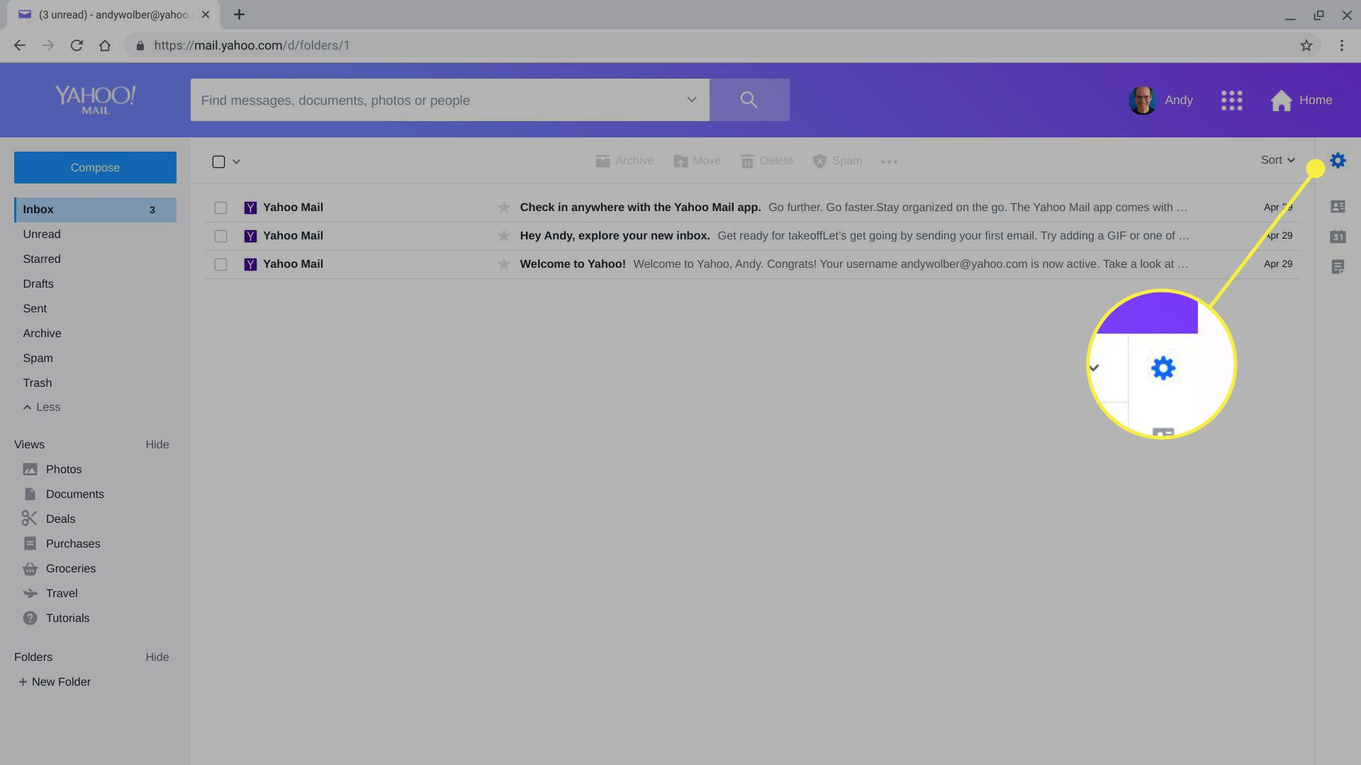 The Settings gear in Yahoo Mail