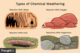 Types of chemical weathering: reaction with water, reaction with oxygen, reaction with acid, reactions with organisms