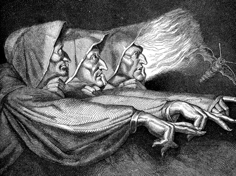 Antique illustration of the Macbeth witches