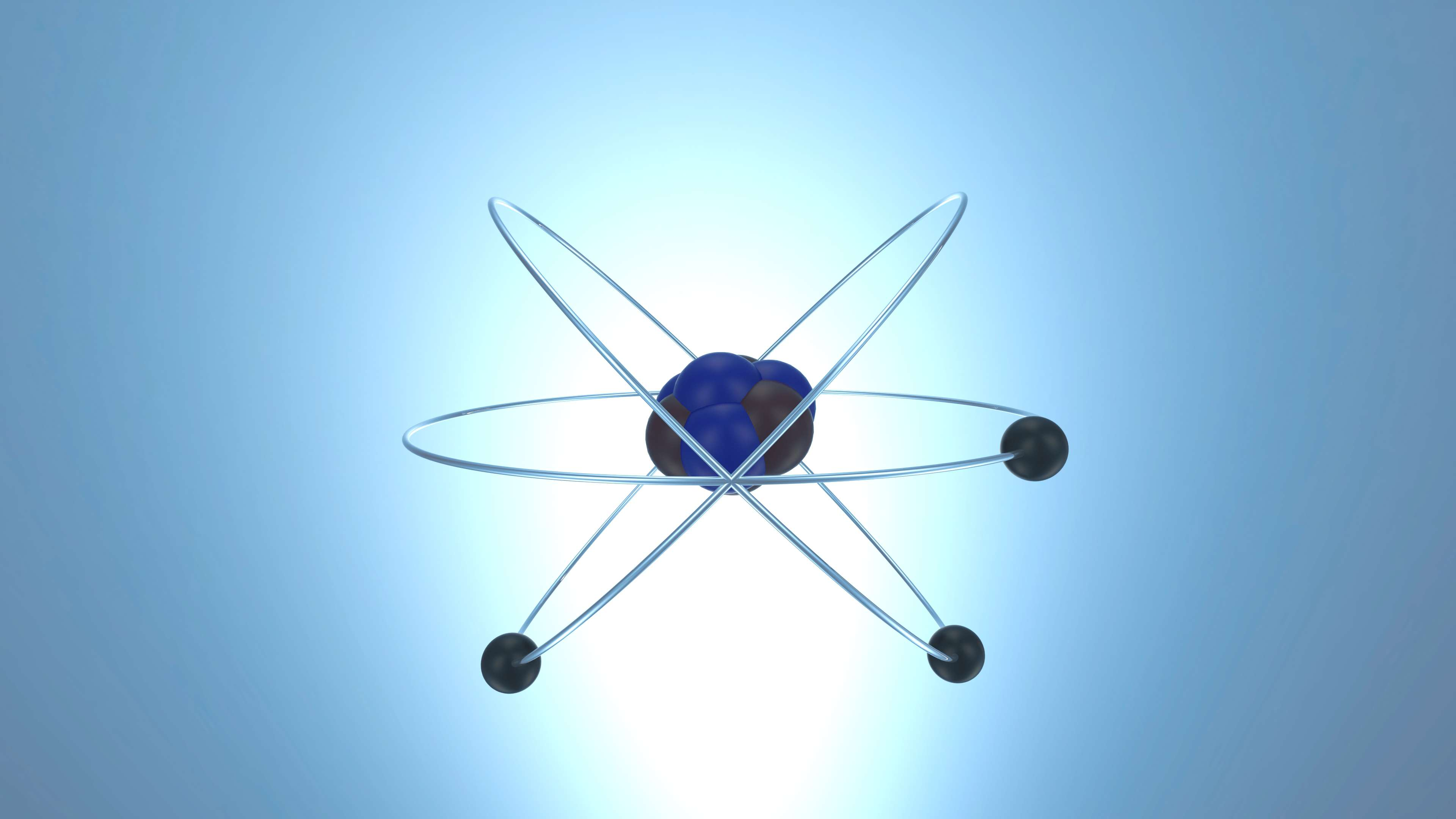 Electrons orbiting around neutrons and protons