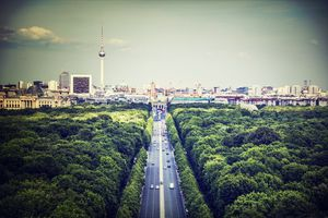 High Angle View Of Road Amidst Trees In City