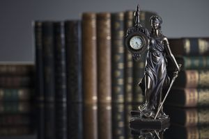 Themis statue and legal books.