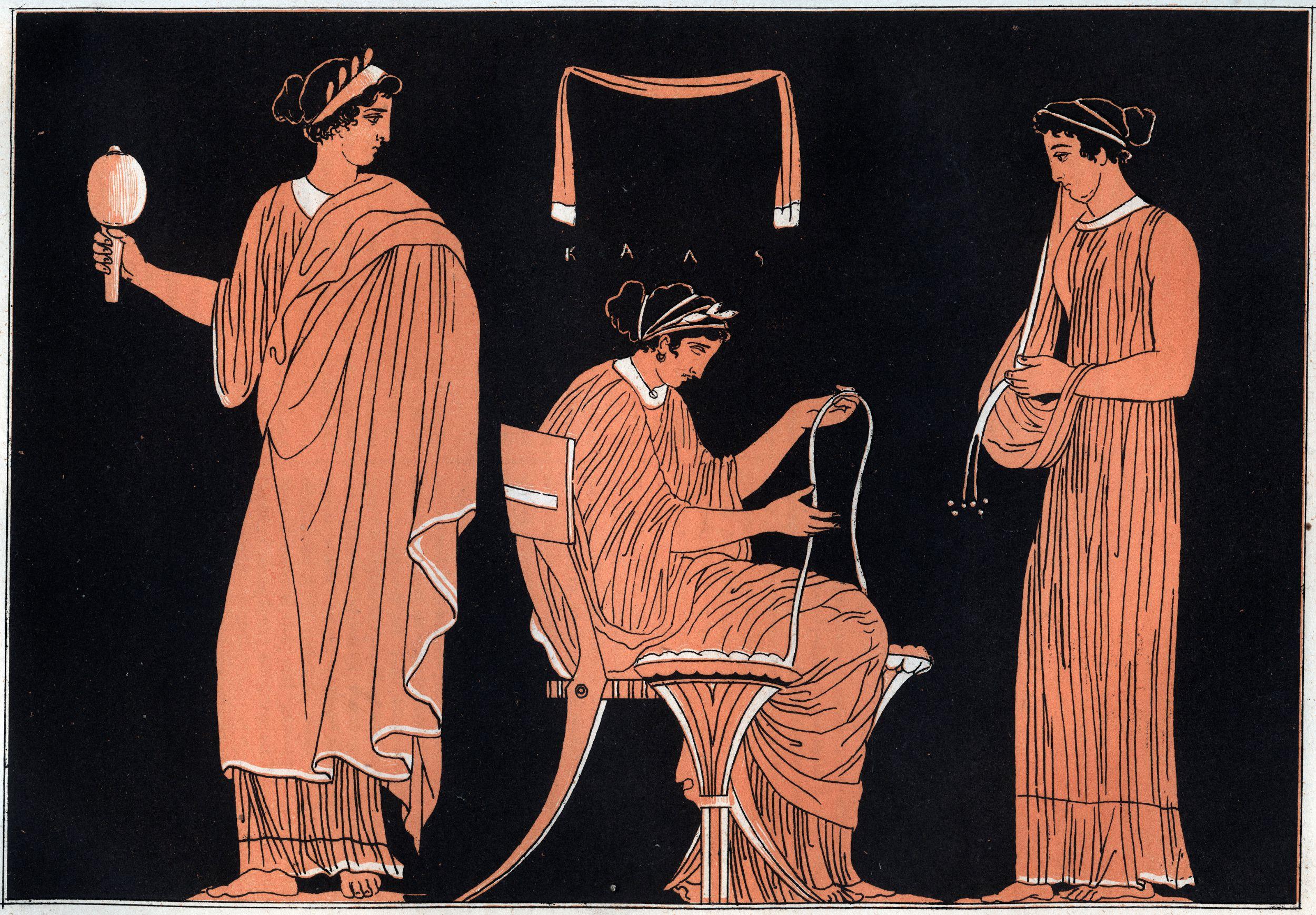 Odyssey by Homer : Penelope and her servants - engraving from 'Usi e Costumi di Tutti i Popoli dell'Universo