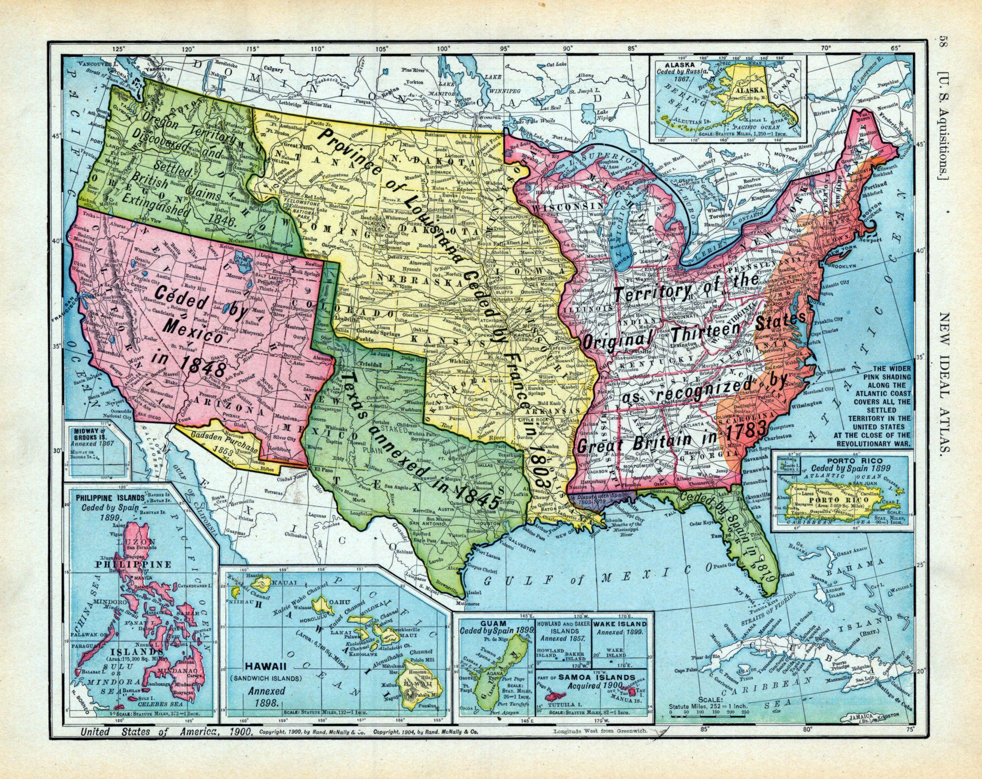 Mapa de los incrementos de territorio de USA