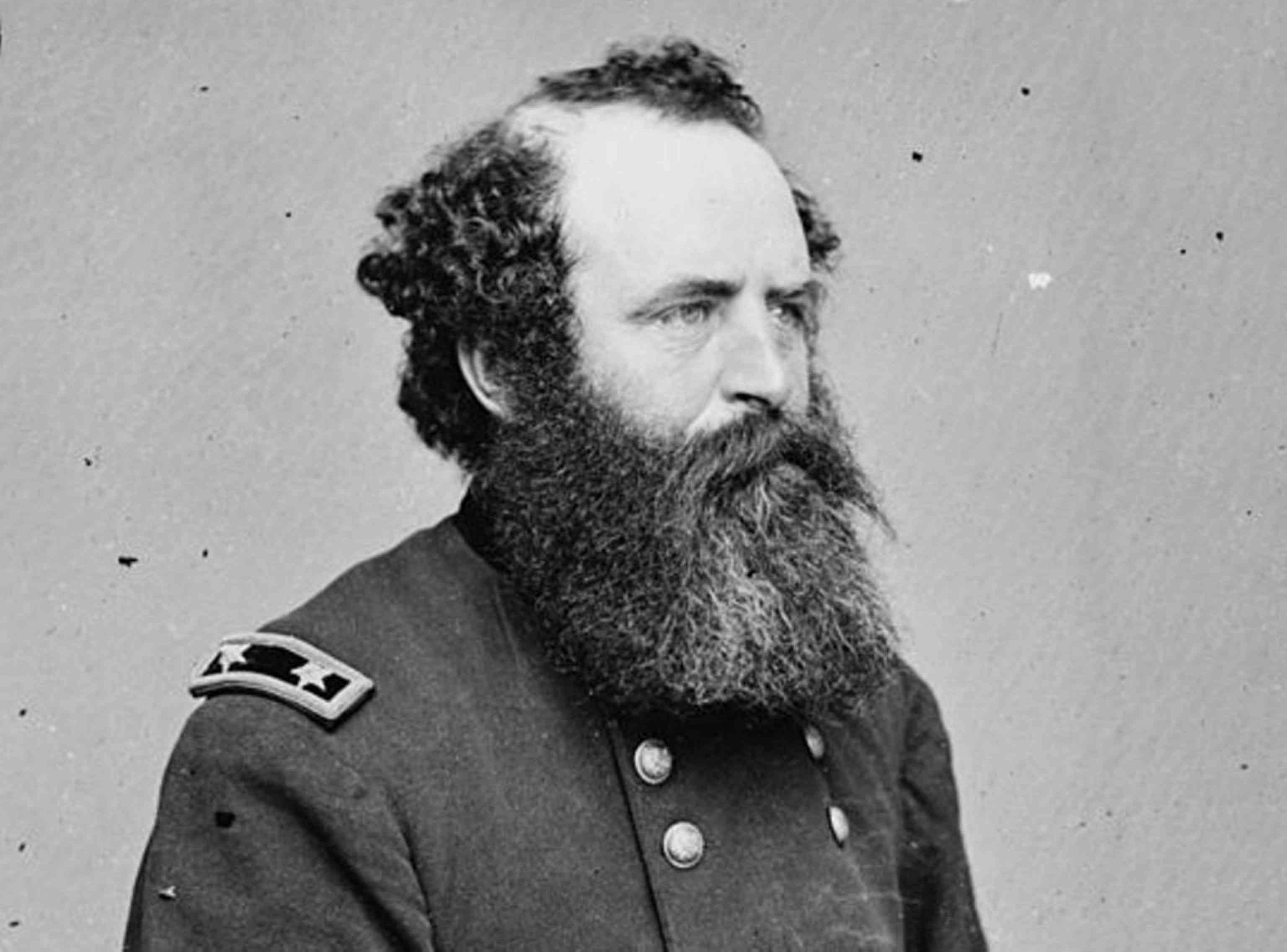 Major General Romeyn B. Ayres with a large beard and wearing his Union Army uniform.