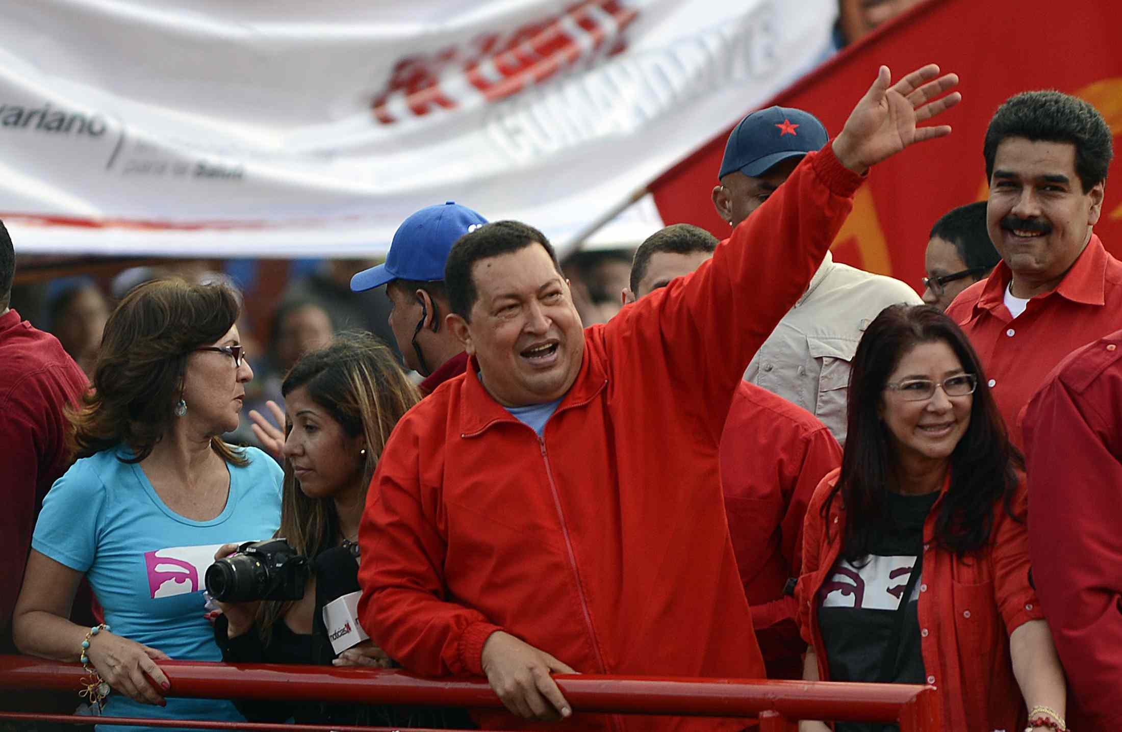 Hugo Chavez with Nicolas Maduro, 2012