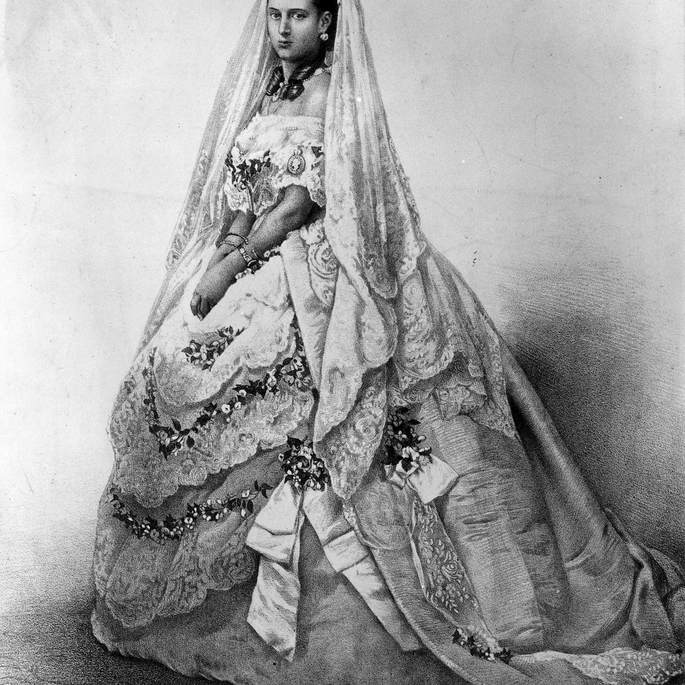彼女のウェディングドレスでデンマークの王女アレクサンドラ