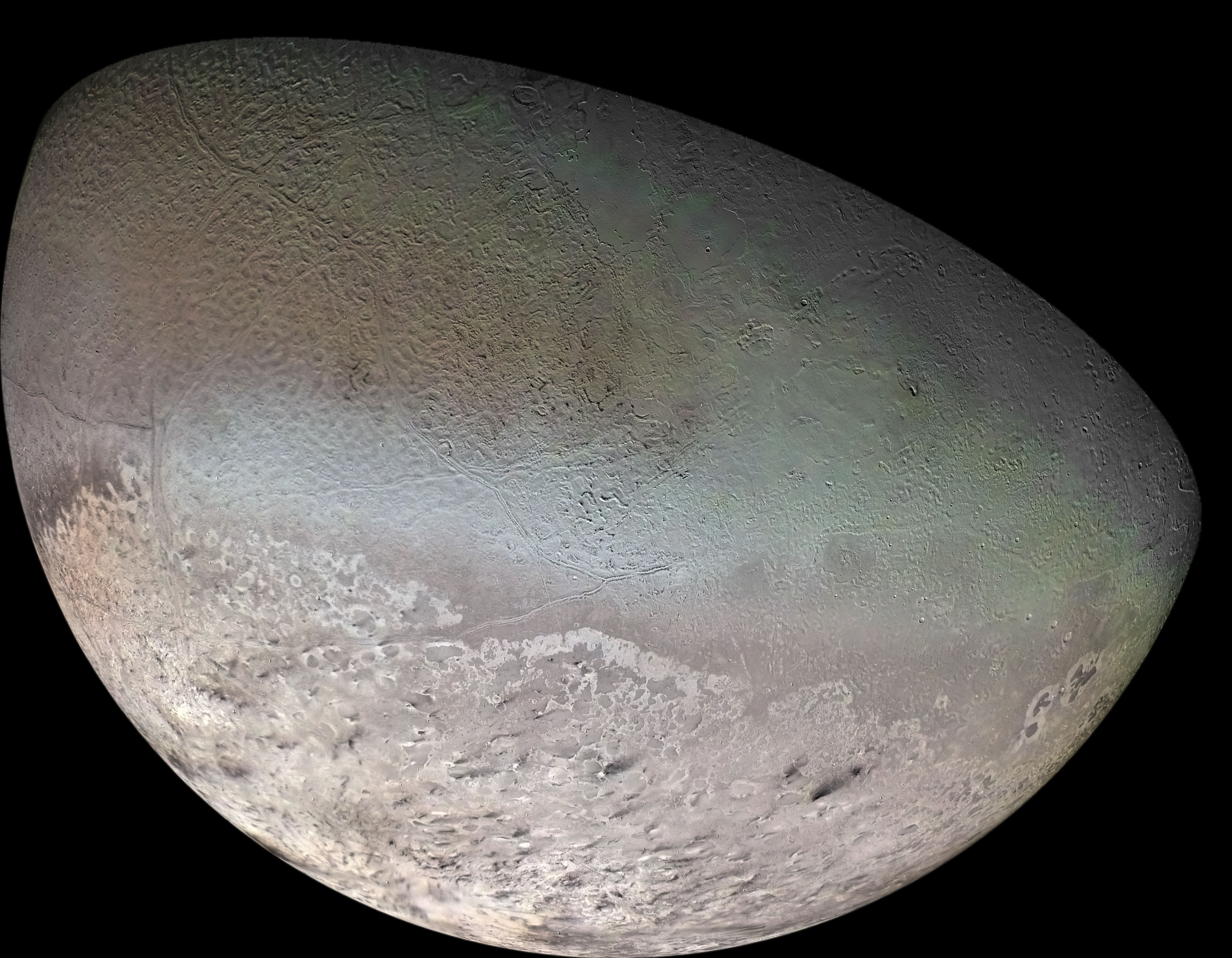 Photograph of Triton, the largest moon of planet Neptune.