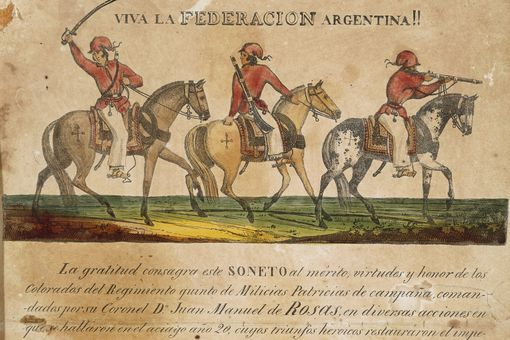 Argentine Federation soldiers at the time of Juan Manuel de Rosas.