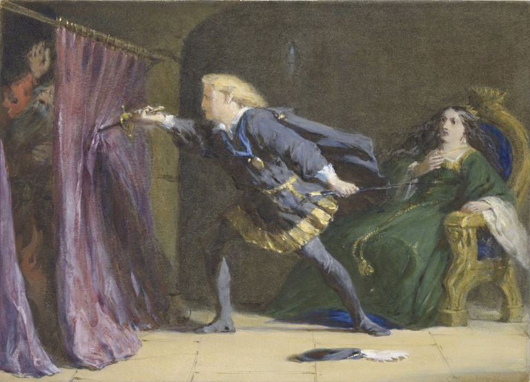 A watercolor by Coke Smyth of Hamlet, Act III, Scene iv. Hamlet stabs Polonius through the curtain.