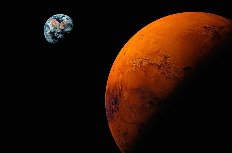 Planet Mars Earth Visible In Background Digital Composite