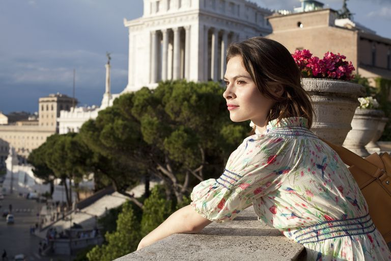 Woman looking at view of Rome