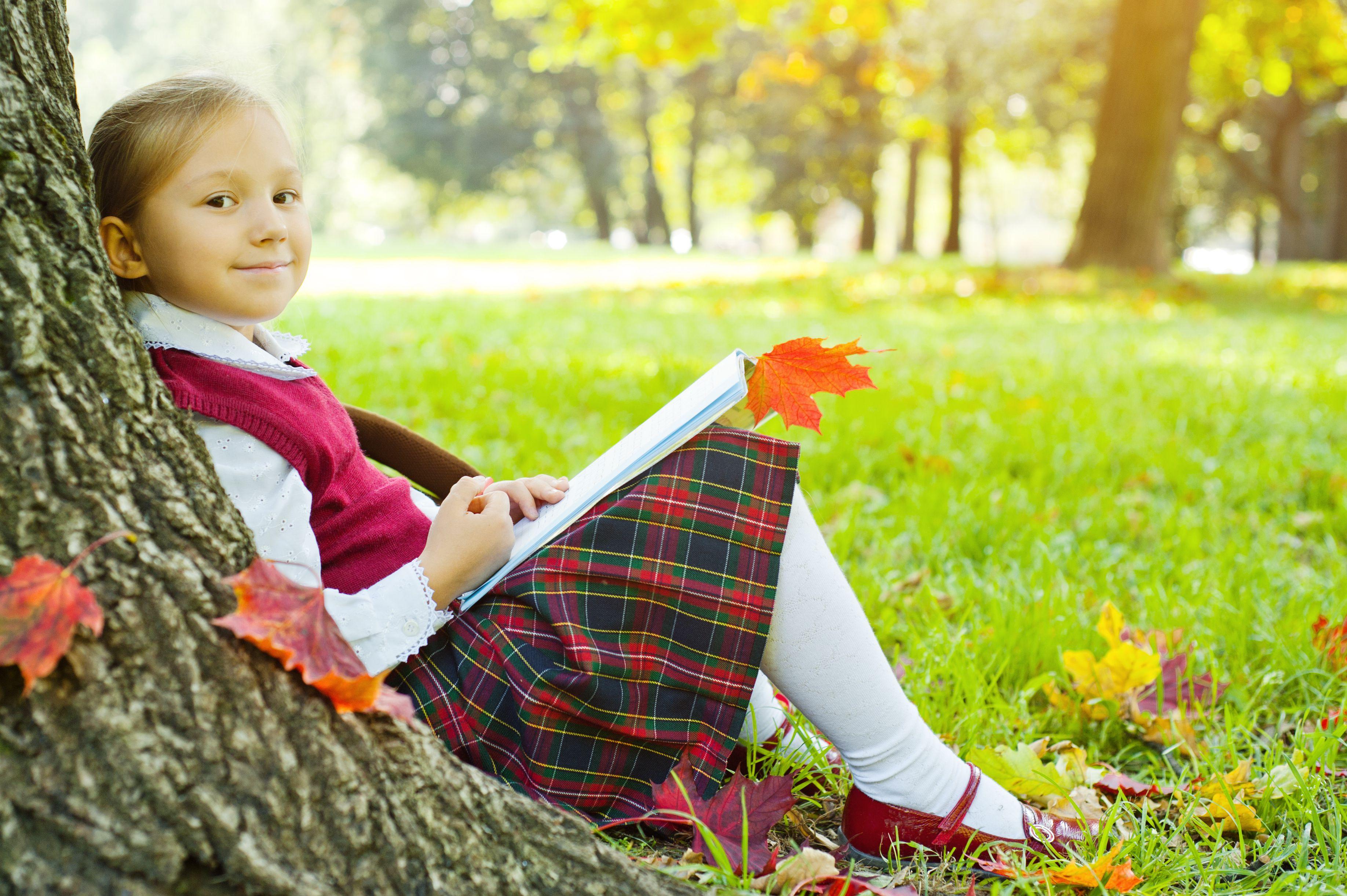 Schoolgirl outdoors