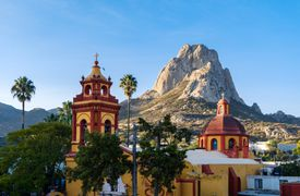 Bernal village with Bernal Peak, Querétaro state, Mexico