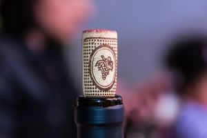 closeup of bottle with cork in it