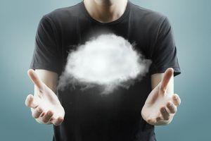 Man holding cloud