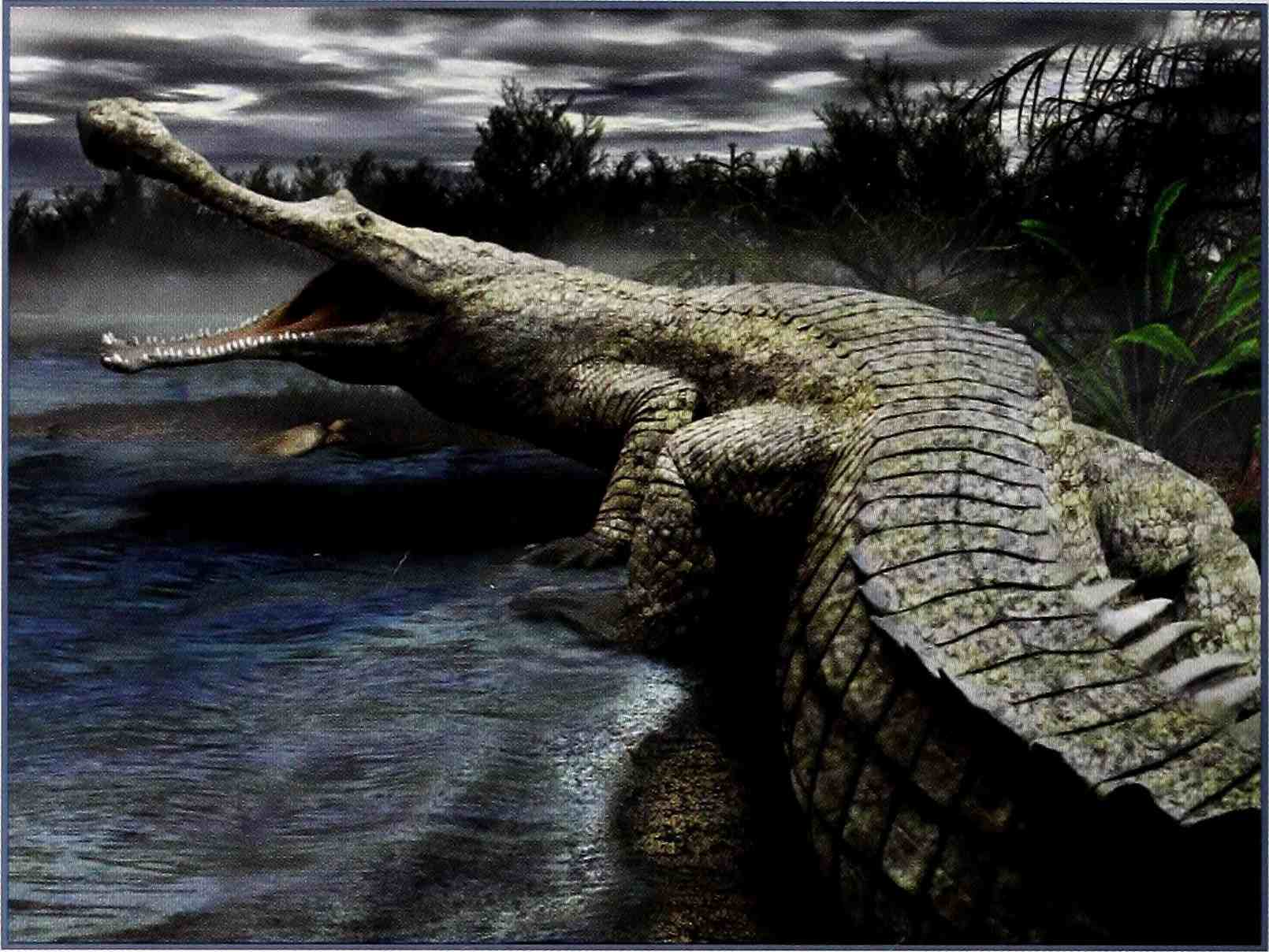 A digital image of a <i>Sarcosuchus</i> with a sheen of green moss on its reptilian skin