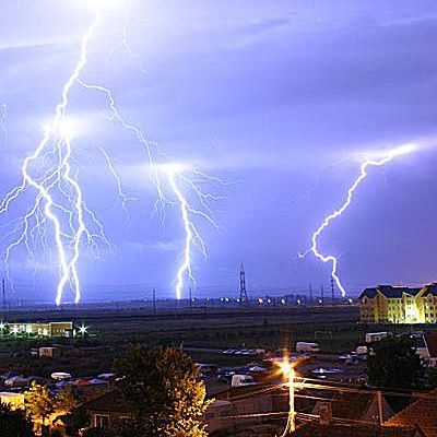 This is lightning associated with a thunderstorm.