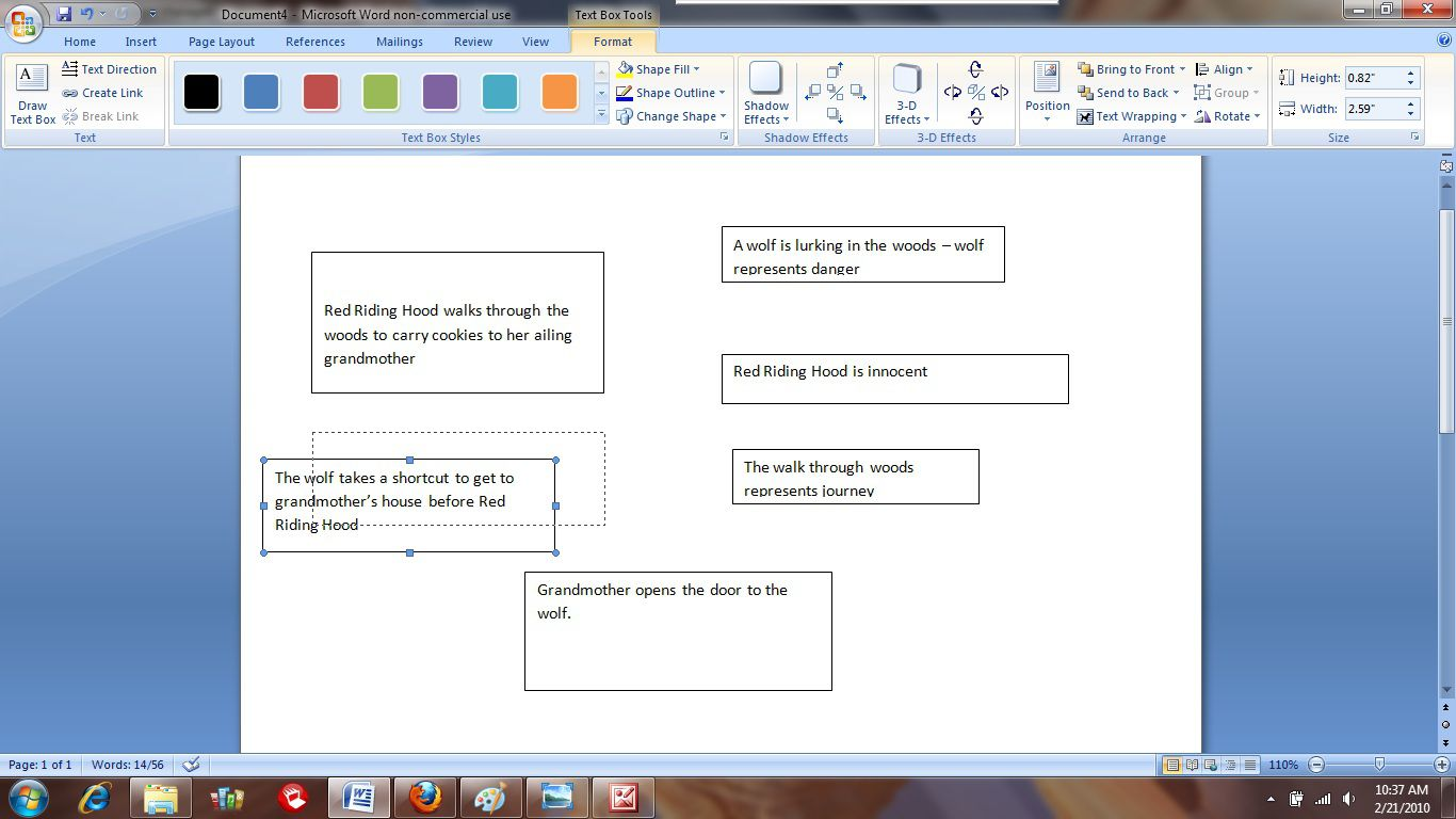 Organizing the textboxes