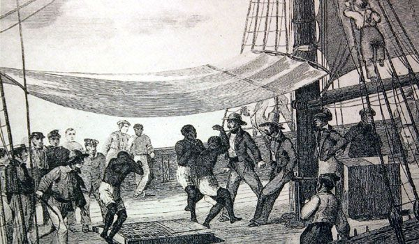 Exercising Slaves on a Trans-Atlantic Slave Ship