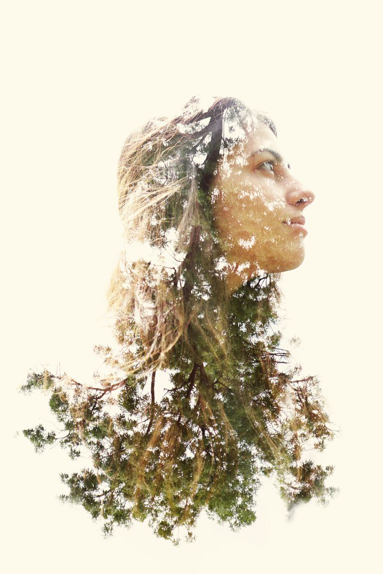 woman with trees forest